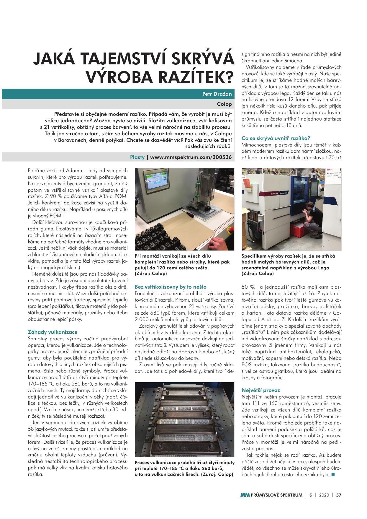 200504 Článek v MM Průmyslovém spektru Tajemství výroby razítek